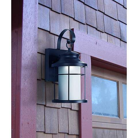 """Warburton 13"""" High Black Led Outdoor Wall Light – #x1958 Pertaining To Armanno Matte Black Wall Lanterns (View 11 of 20)"""