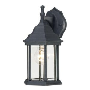 Westinghouse 1 Light Textured Black On Cast Aluminum Within Faunce Beveled Glass Outdoor Wall Lanterns (View 13 of 20)