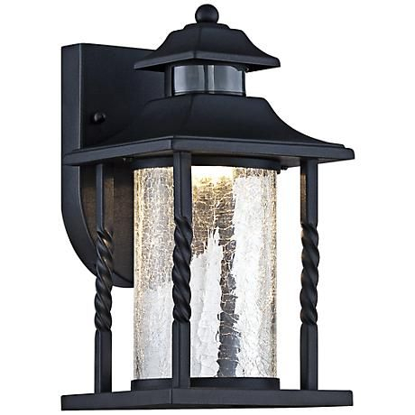 """Westray 11 1/2""""h Black Motion Sensor Led Outdoor Wall Throughout Vendramin Black Glass Outdoor Wall Lanterns (View 1 of 20)"""