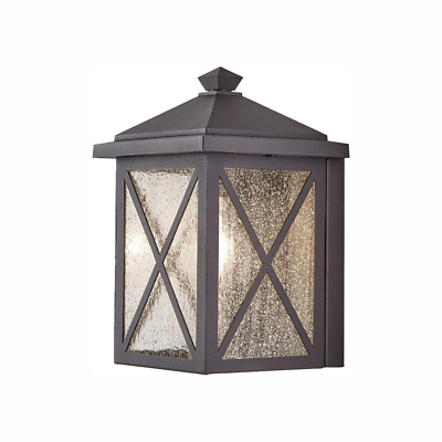 Popular Photo of Brook Black Seeded Glass Outdoor Wall Lanterns With Dusk To Dawn