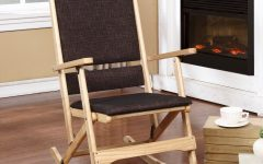 Natural Brown Wood Folding Rocking Chairs