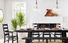 Blackened Oak Benchwright Pedestal Extending Dining Tables