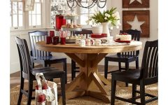 Rustic Mahogany Benchwright Pedestal Extending Dining Tables