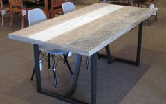 Acacia Wood Dining Tables with Sheet Metal Base