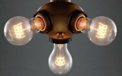 Three Light Bare Bulb Pendants