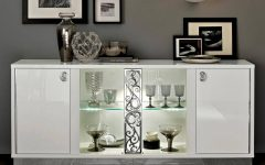 White Sideboards With Glass Doors