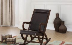 Carbon Loft Ariel Rocking Chairs in Espresso Pu and Walnut