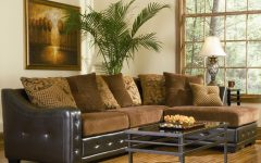 Chenille and Leather Sectional Sofa