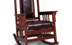 Elegant Tobacco Brown Wooden Rocking Chairs