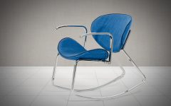 Modern Blue Fabric Rocking Arm Chairs