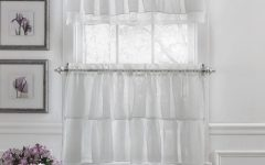 Elegant Crushed Voile Ruffle Window Curtain Pieces
