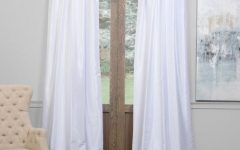 Ice White Vintage Faux Textured Silk Curtain Panels