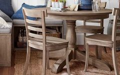 Weathered Gray Owen Pedestal Extending Dining Tables