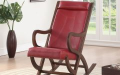 Faux Leather Upholstered Wooden Rocking Chairs with Looped Arms, Brown and Red