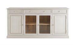 Mango Wood Grey 4-drawer 4-door Sideboards