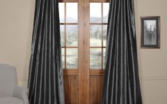 Solid Faux Silk Taffeta Graphite Single Curtain Panels