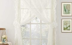 Elegant White Priscilla Lace Kitchen Curtain Pieces
