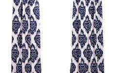 Ikat Blue Printed Cotton Curtain Panels
