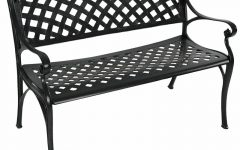 Ismenia Checkered Outdoor Cast Aluminum Patio Garden Benches