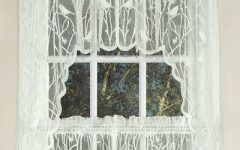 White Knit Lace Bird Motif Window Curtain Tiers