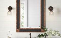 Kristy Rectangular Beveled Vanity Mirrors in Distressed