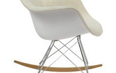 Twill Fabric Beige Rocking Chairs With Eiffel Legs