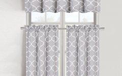 Cotton Blend Grey Kitchen Curtain Tiers