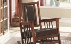 Mission Design Wood Rocking Chairs With Brown Leather Seat