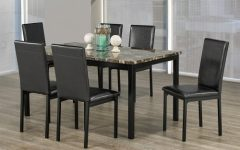 Faux Marble Finish Metal Contemporary Dining Tables