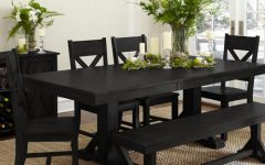 Antique Black Wood Kitchen Dining Tables