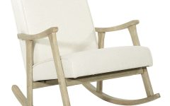 Rocking Chairs in Linen Fabric With Brushed Finish Base