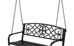 2-Person Hammered Bronze Iron Outdoor Swings