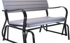 Black Outdoor Durable Steel Frame Patio Swing Glider Bench Chairs