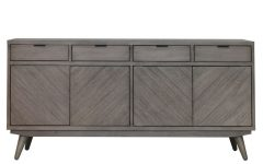 Brown Chevron 4-Door Sideboards