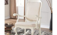 Wooden Rocking Chairs With Fabric Upholstered Cushions, White