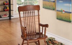 Tobacco Brown Wooden Rocking Chairs