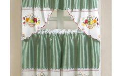 Faux Silk 3-piece Kitchen Curtain Sets