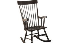 Traditional Style Wooden Rocking Chairs with Contoured Seat, Black