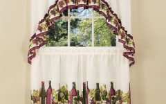 Traditional Two-Piece Tailored Tier and Swag Window Curtains Sets With Ornate Rooster Print