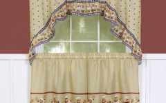 Traditional Tailored Tier and Swag Window Curtains Sets with Ornate Flower Garden Print
