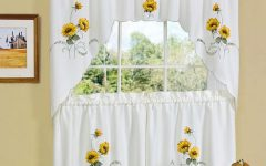 Traditional Tailored Window Curtains with Embroidered Yellow Sunflowers