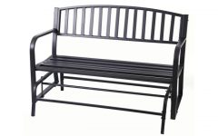 Black Steel Patio Swing Glider Benches Powder Coated