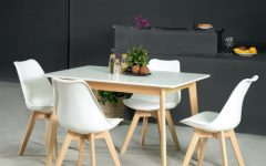 Rustic Mid-Century Modern 6-Seating Dining Tables in White and Natural Wood