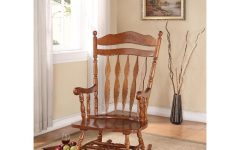Dark Walnut Brown Wooden Rocking Chairs